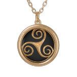 Triskelion Gold Finish Necklace