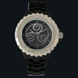 """Triskelion Wrist Watch<br><div class=""""desc"""">The triskelion is also known as the tri-spiral or """"Spiral of Life."""" The Greek term triskelion literally means """"three-legged, """" and this sign looks very much like three legs running. The three spirals in the triskelion are interconnected with no open ends thus creating one continuous line. Each spiral turns in...</div>"""