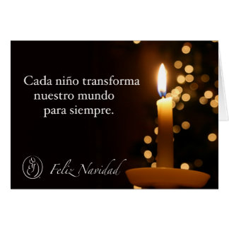 Trisomy 18 Foundation Feliz Navidad Candle Quote Greeting Card