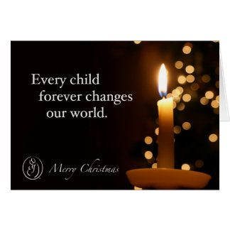 Trisomy 18 Foundation Merry Christmas Candle Quote Greeting Card