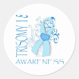 TRISOMY 18, TRISOMY 18 AWARENESS CLASSIC ROUND STICKER
