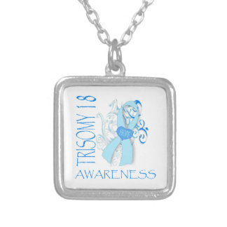 TRISOMY 18, TRISOMY 18 AWARENESS SILVER PLATED NECKLACE