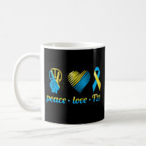 Trisomy 21 Peace Love Down Syndrome Ribbon Heart Coffee Mug