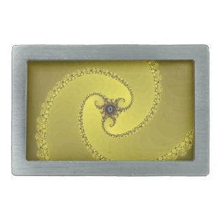 trispiral yellow rectangular belt buckle