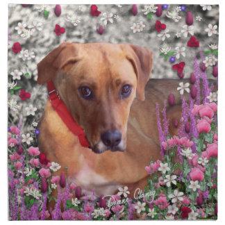 Trista el perro del rescate en flores servilleta