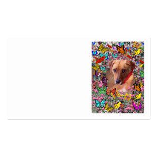 Trista el perro del rescate en mariposas tarjetas de visita