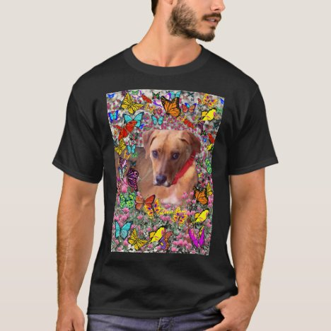 Trista, Rescue Mixed-Breed in Butterflies T-Shirt