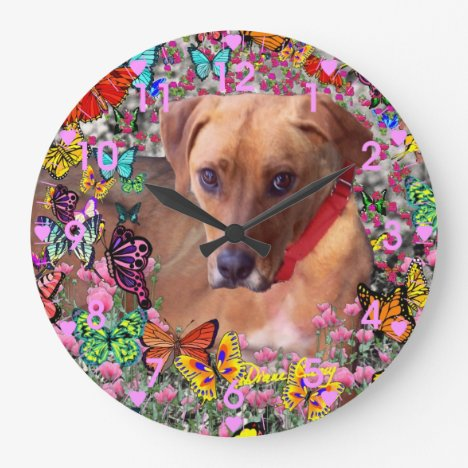 Trista the Rescue Dog in Butterflies Large Clock