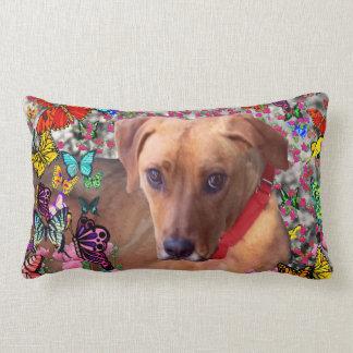 Trista the Rescue Dog in Butterflies Lumbar Pillow
