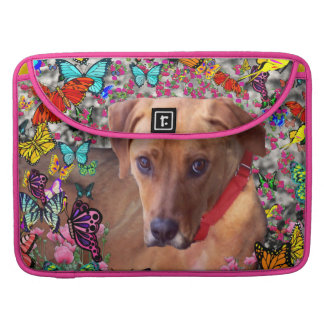 Trista the Rescue Dog in Butterflies MacBook Pro Sleeve