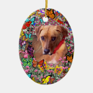 Trista the Rescue Dog in Butterflies Christmas Tree Ornament