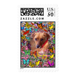 Trista the Rescue Dog in Butterflies Postage