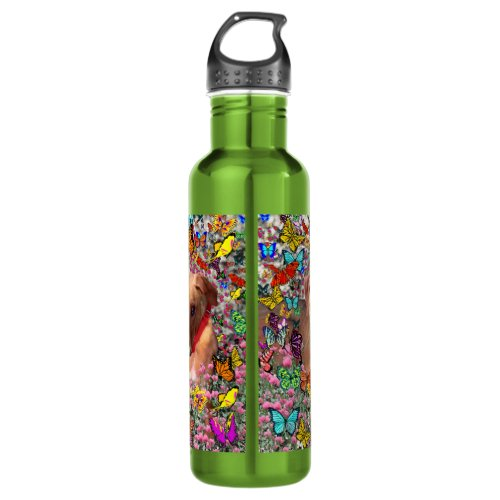 Trista the Rescue Dog in Butterflies Stainless Steel Water Bottle