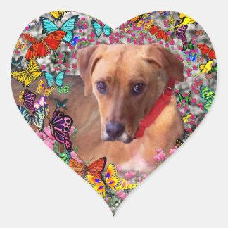 Trista the Rescue Dog in Butterflies Heart Sticker