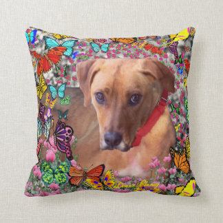 Trista the Rescue Dog in Butterflies Throw Pillow