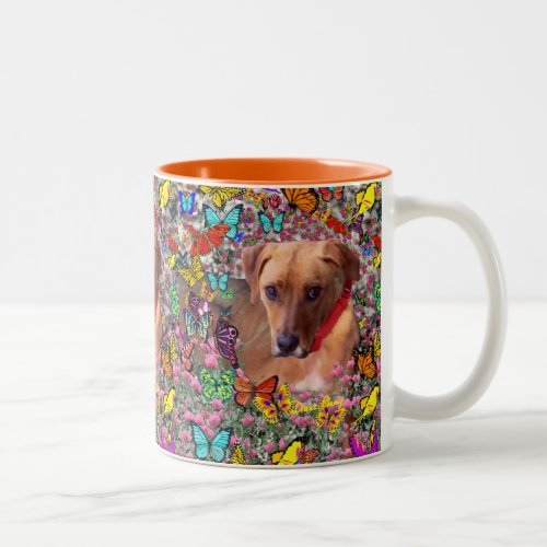 Trista the Rescue Dog in Butterflies Two-Tone Coffee Mug