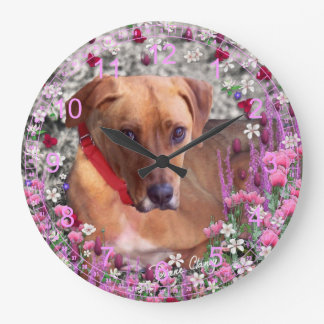 Trista the Rescue Dog in Flowers Large Clock
