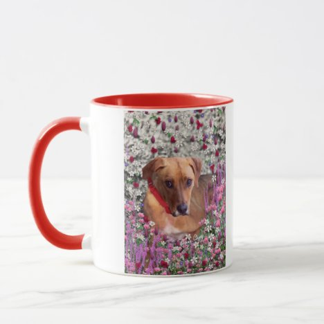 Trista the Rescue Dog in Flowers Mug