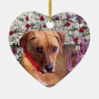 Trista the Rescue Dog in Flowers Christmas Ornament