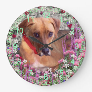 Trista the Rescue Puppy Dog in Flowers Large Clock