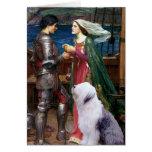 Tristam y perro pastor inglés Isolda-Viejo 1 Felicitacion