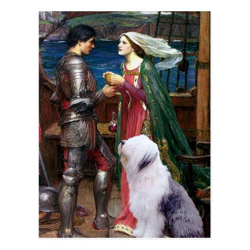 Tristam y perro pastor inglés Isolda-Viejo 1 Postal