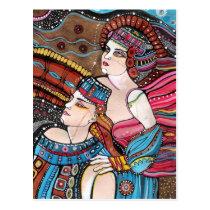 artistic, couple, painting, eternal, portrait, romantic, loving, romance, original, beloved, majestic, inspirational, love, heaven, Postcard with custom graphic design
