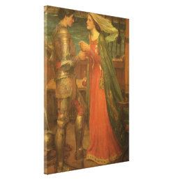Tristan and Isolde by Waterhouse, Vintage Fine Art Canvas Print