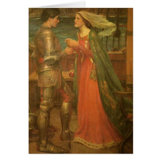 Tristan and Isolde by Waterhouse, Vintage Fine Art Greeting Cards