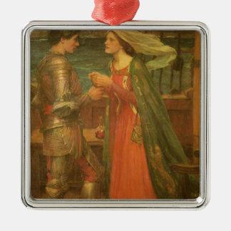 Tristan and Isolde by Waterhouse, Vintage Fine Art Metal Ornament