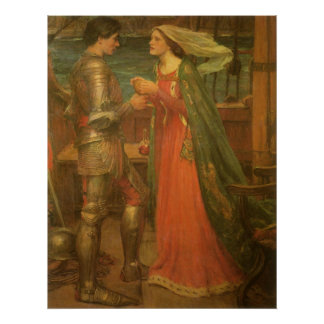 Tristan and Isolde by Waterhouse, Vintage Fine Art Poster