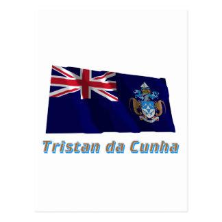 Tristan da Cunha Waving Flag with Name Postcard