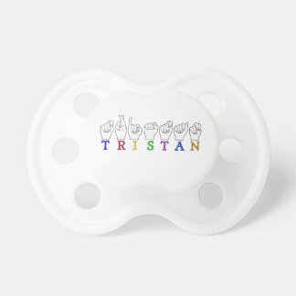 TRISTAN NAME FINGERSPELLED ASL SIGN BABY PACIFIER