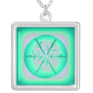 Tristan's Crazy Snowflake Square Pendant Necklace