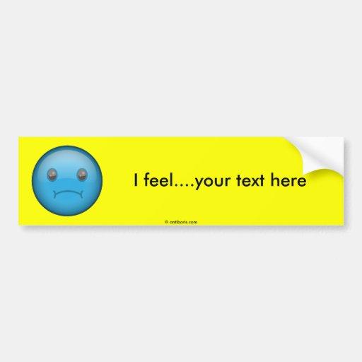 Triste azul etiqueta de parachoque