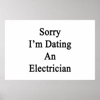 Triste estoy fechando a un electricista póster
