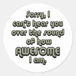 Triste no puedo oírle sobre el sonido de cómo etiqueta redonda