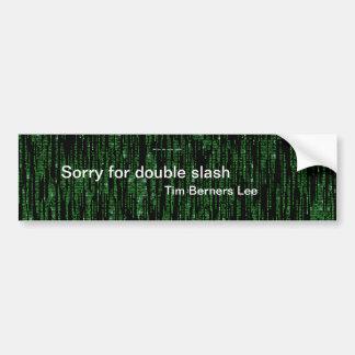 Triste para la raya vertical doble etiqueta de parachoque