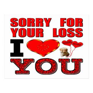 Triste para su pérdida te amo tarjetas postales