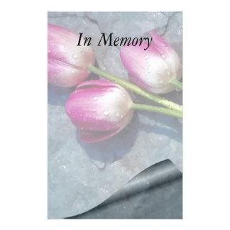 Triste para sus tulipanes del rosa de la pérdida papelería personalizada