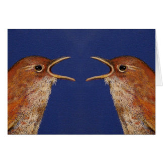 Triste Squabbled: Dibujo de dos pájaros Tarjeta De Felicitación