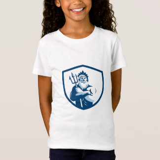 Triton Trident Arms Crossed Crest Retro T-Shirt