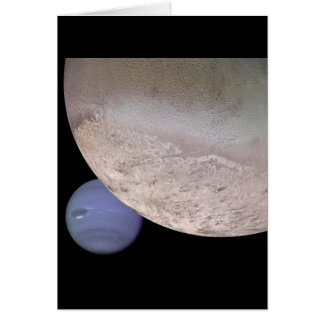 Triton with Neptune in the background NASA Card
