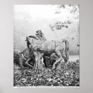Tritones que preparan dos caballos del sol impresiones