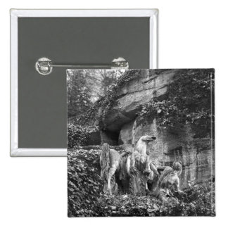 Tritons grooming two horses of the sun 2 inch square button