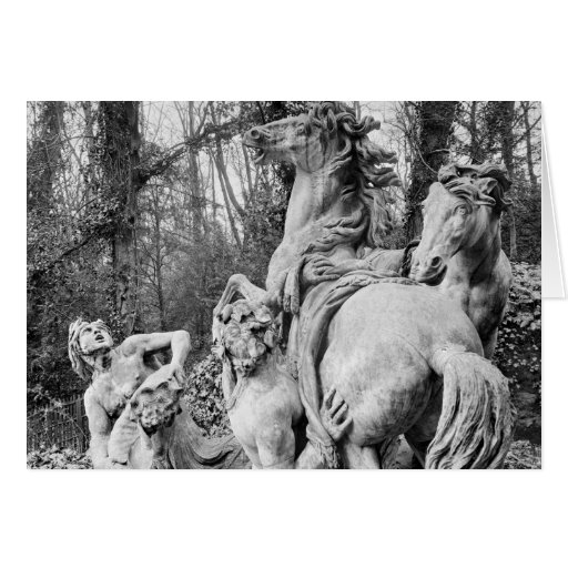 Tritons grooming two horses of the sun greeting cards
