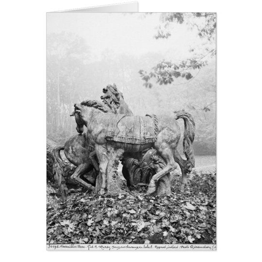 Tritons grooming two horses of the sun card