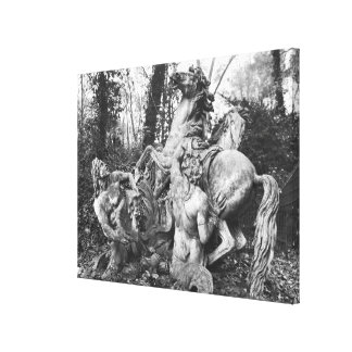 Tritons grooming two horses of the sun in grove canvas print