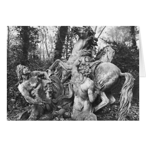 Tritons grooming two horses of the sun in grove greeting card
