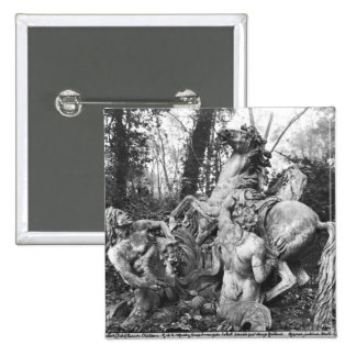 Tritons grooming two horses of the sun in grove pinback button